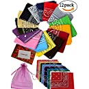 12pcs Bandanas 22 X 22 Inch 100% Cotton Novelty Double Sided Print Paisley Cowboy Bandana Party Favor Scarf Headband Handkerchiefs