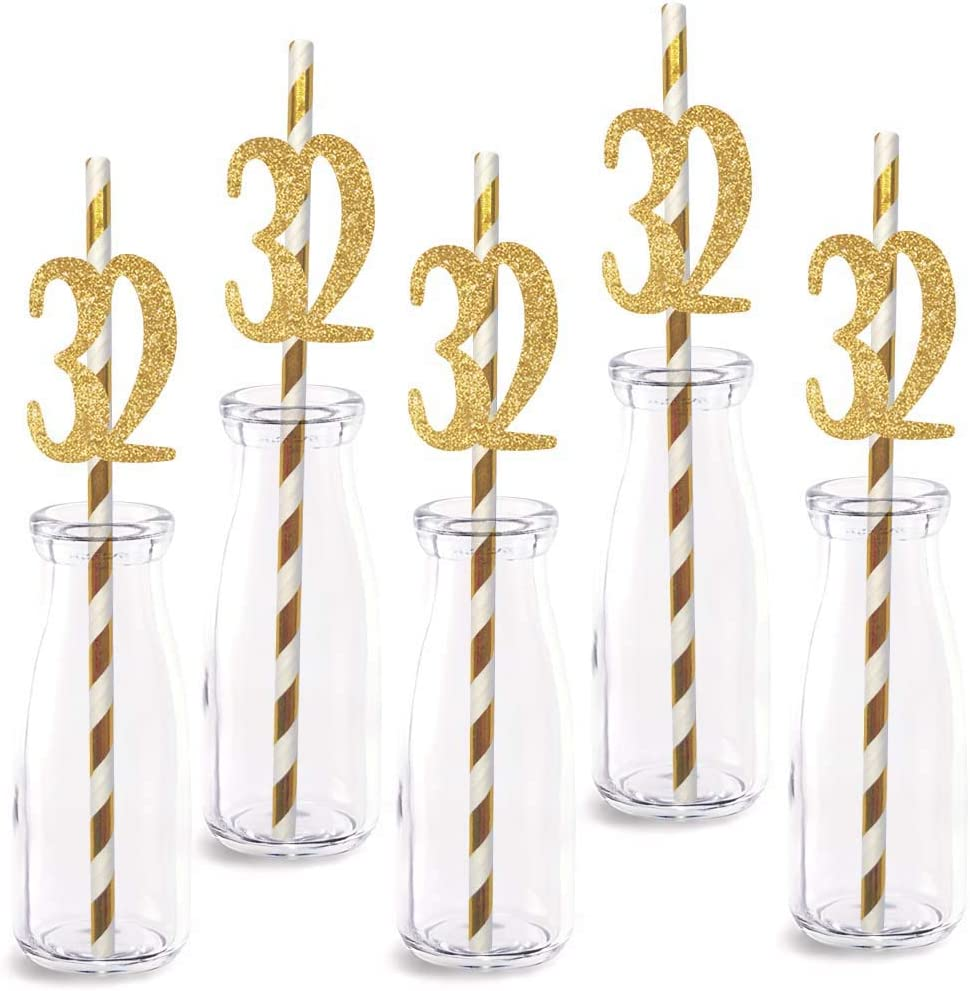 32nd Birthday Paper Straw Decor, 24-Pack Real Gold Glitter Cut-Out Numbers Happy 32 Years Party Decorative Straws