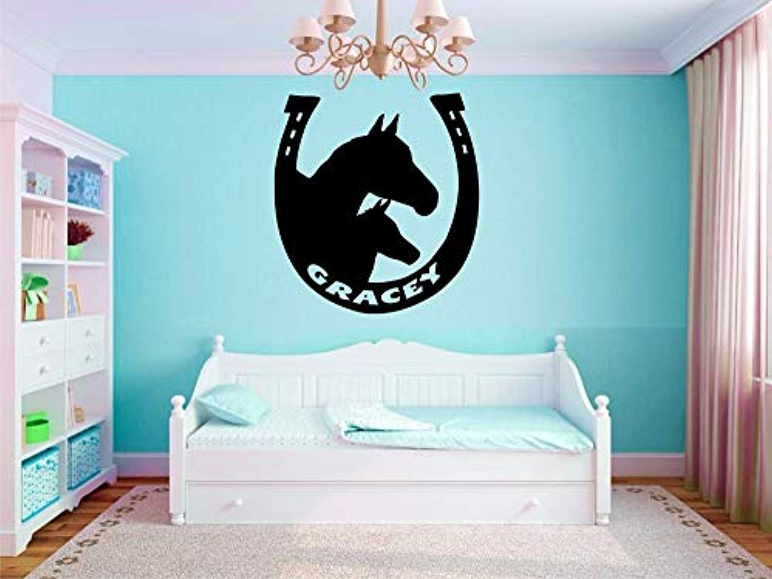 Custom Made Personalized Name Horseshoe with Horse Kids Nursery Bedroom You Wall Decals Decor Vinyl Sticker SK13698 (w22 h23)