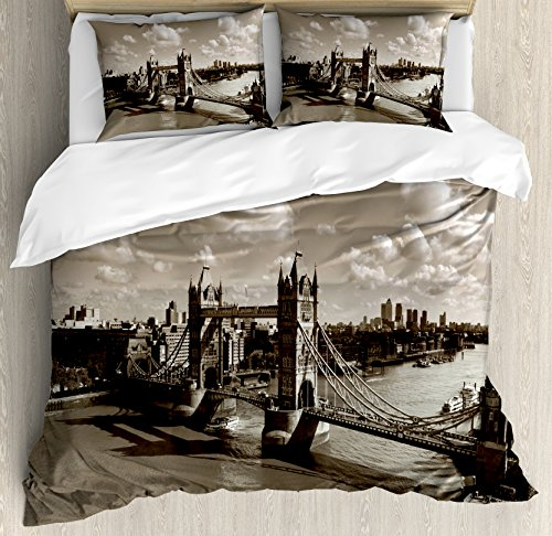 Ambesonne Travel Decor Duvet Cover Set King Size, Tower Brid