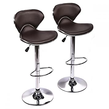 BestMassage Swivel Bar Stools Adjustable Height Counter Stools W/Chrome  Base,Set Of 2