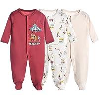 Bebé Pijama Pack de 3, Pelele de Algodón Niña Mameluco Manga Larga Monos, Perfecto para Regalo 0-3 Meses
