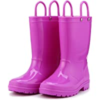 KomForme K Kids Rain Boots, Environmental Material Boots with Memory Foam Insole and Easy-on Handles
