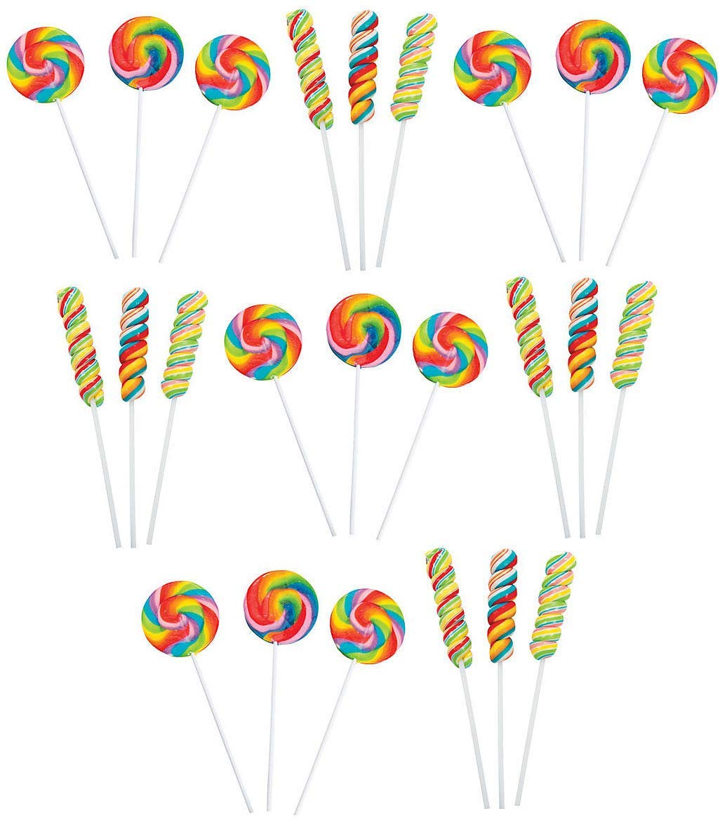 24 JUMBO Lollipop Rainbow Variety Pack | 12 Large Swirl Suckers and 12 Candy Twisty Pops ● NEW IMPROVED UNBREAKABLE PACKAGING ● Fun Birthday Party Favors for Children ( 24 Pack ) by Bottles N Bags