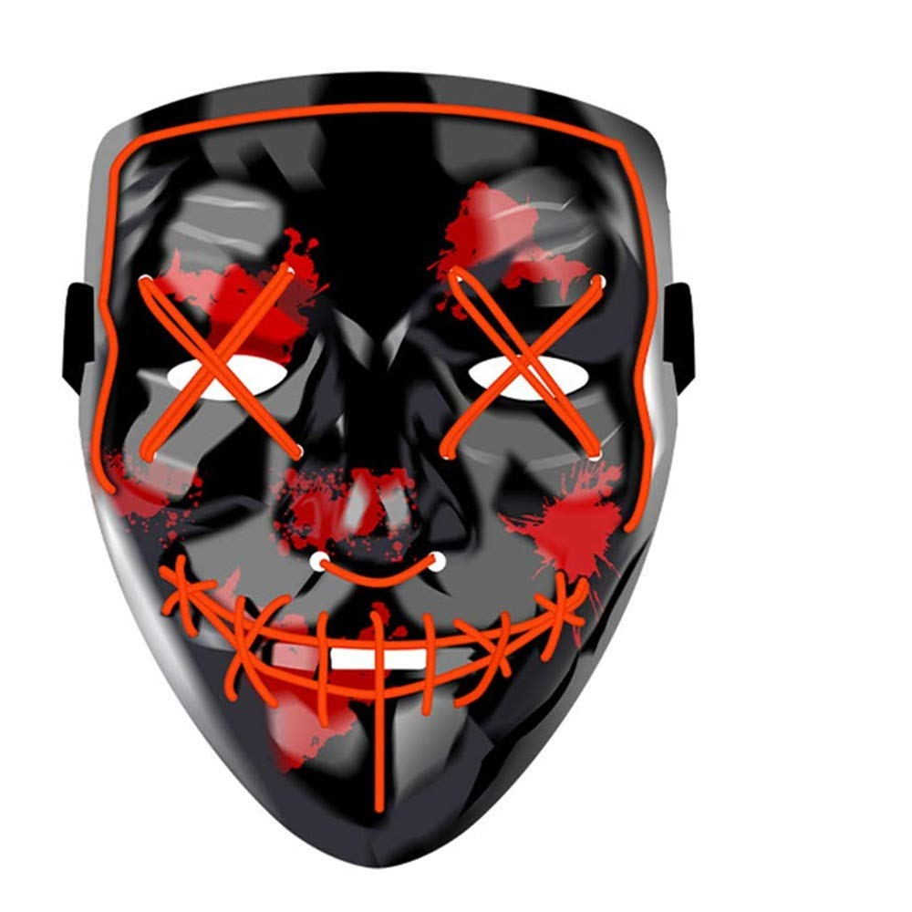 LED Halloween Mask - Halloween Scary Cosplay Light up Mask, EL Wire Mask Glowing mask for Halloween Festival Party (Red) by Ausein