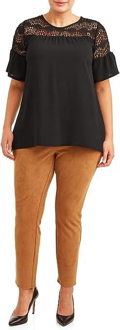 Terra /& Sky Women/'s Plus Size Full Length Jegging Grey Black Snake Print Brown