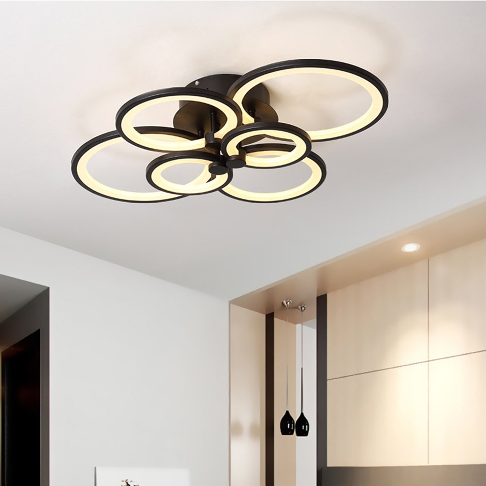 HOUDES 6-Rings Acrylic Modern Chandeliers for Livingroom Bedroom Kitchen Room Led Circle 6 Rings Black Color Finish 3500K 4500K 6000K (Dimmable Version with Remote)