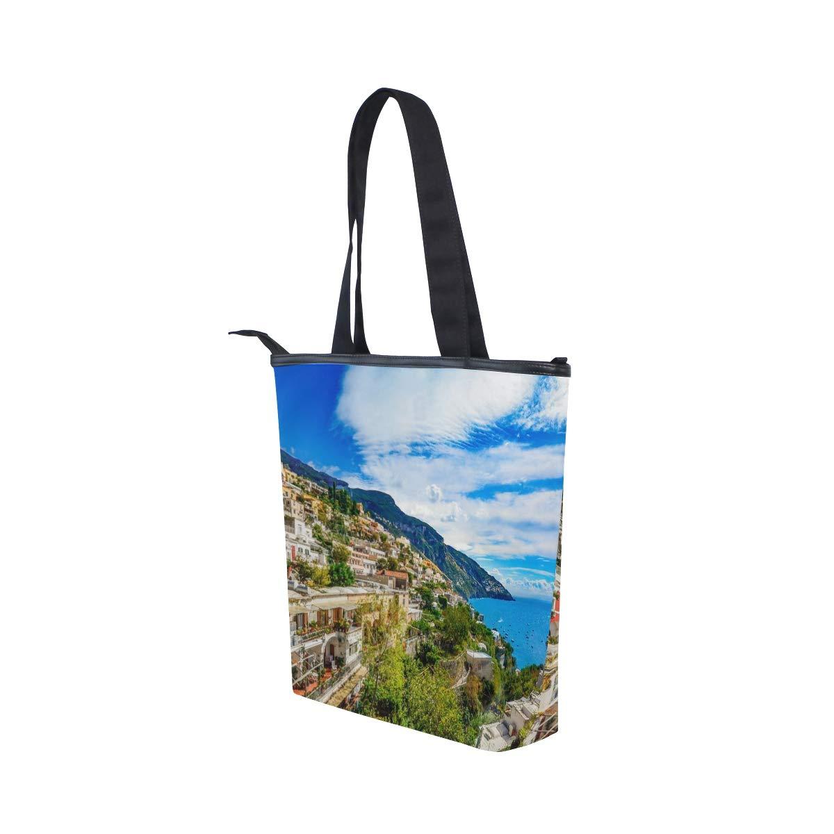76762e49f707 Amalfi Coast Italy Canvas Tote Bags Leather Tote Handbags for Women ...