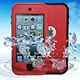 iPod 5 Waterproof Case, iPod 6 Waterproof Case, iPod 6 / 5 Defender Case For Boys Girls, Built-in Touch Screen for Dustproof Sweatproof (Red)