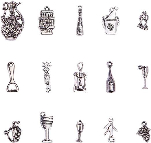 10 x Tibetan Silver GLASS OF WINE Charms Pendants Beads