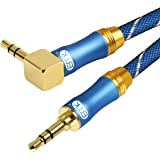 90 Degree Right Angle Aux Cable - [24K Gold-Plated,Sound Quality] EMK Audio Stereo Male to Male Cable for Laptop, Tablets, MP3 Players,Car/Home Aux Stereo, Speaker or More,Blue (4Ft/1.2Meters)