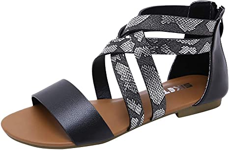 Moonker Women Summer Flats Sandals Wide Width Shoes Ladies Girls Fashion Retro Buckle-Strap Casual Shoes Thong Sandals