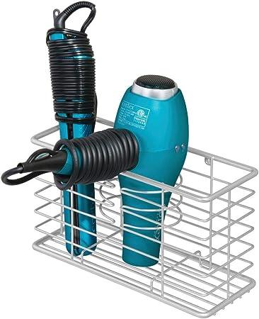 mDesign Soporte para secador de pelo en metal – Organizador de baño seguro con 3 compartimentos – Estante multifunción con espacio para secador, rizador eléctrico y plancha – gris claro: Amazon.es: Hogar