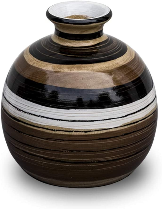 H HOMEPAINT Handcrafted Wooden Vase for Home Decoration Handmade Wooden Vases Home, Office, Kitchen Decor 5.5 x 6.3 Inch GHGWV17240