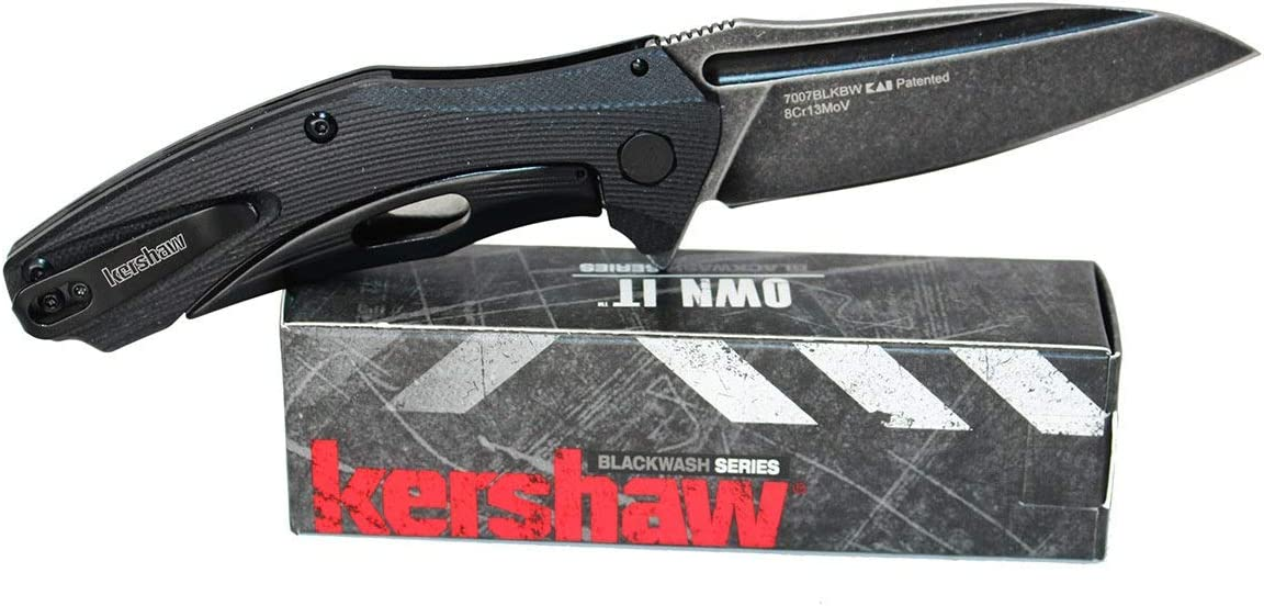 Kershaw Natrix Assisted Opening Knife Black G-10 Handle Black Stonewash Plain Edge 7007BLKBW
