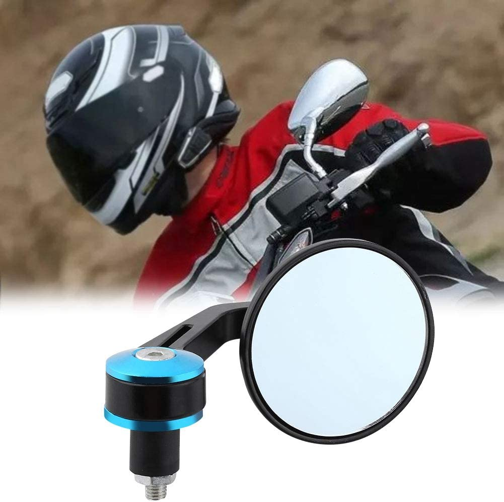 Cuque Motorcycle Rear View Mirror 1 Pair 7//8 Round Handle End Scooter Side View Mirror Universal Aluminum Modified Handle Mirror Black Gold Blue Red Tail Gold