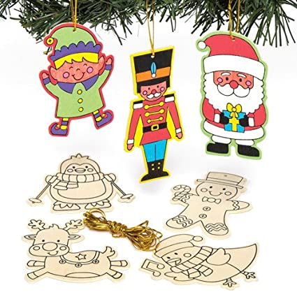 baker ross christmas character color in wooden hanging decorations kit for children to make and - Ross Christmas Decorations