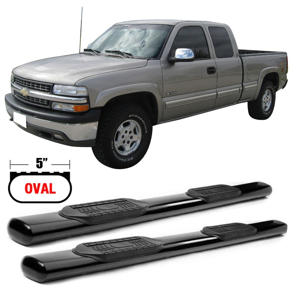 Side Step Bars Fits 1999-2013 Chevy Silverado & GMC Sierra 1500 2500 2500HD 3500 | Black Powder Coat Finish T304 Stainless Steel Running Boards Nerf Bars By IKON MOTORSPORTS | 2000 2001 2002 2003 2004