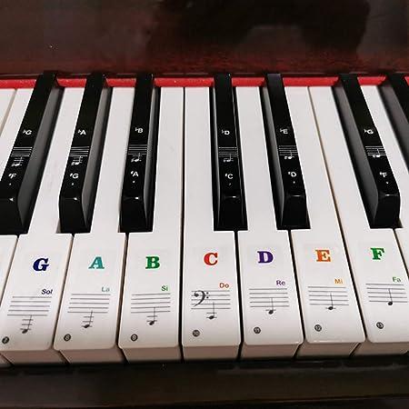 ASNOMY 2pcs Teclado o piano adhesivos para 49/54/61/88 llave teclado, plano y teclado Music Note Full set adhesivos para blanco y negro llaves ...
