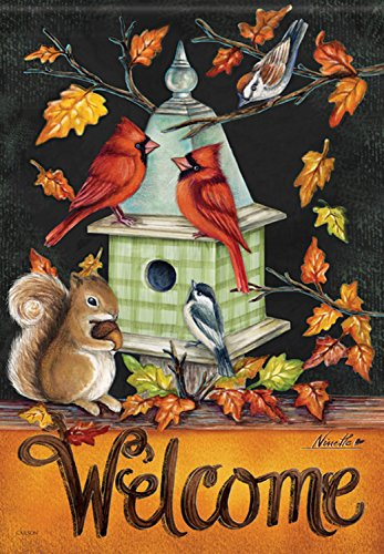 Autumn Melody House Flag Cardinal Fall Bird Squirrel Birdhouse Banner 28