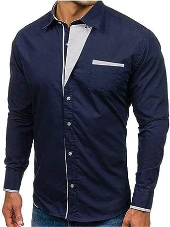 Overdose Camisas Hombre para Bodas Manga Larga De Vestir Formal Slim Fit Blanca Negro Azul Camisas Hombre Coderas: Amazon.es: Ropa y accesorios
