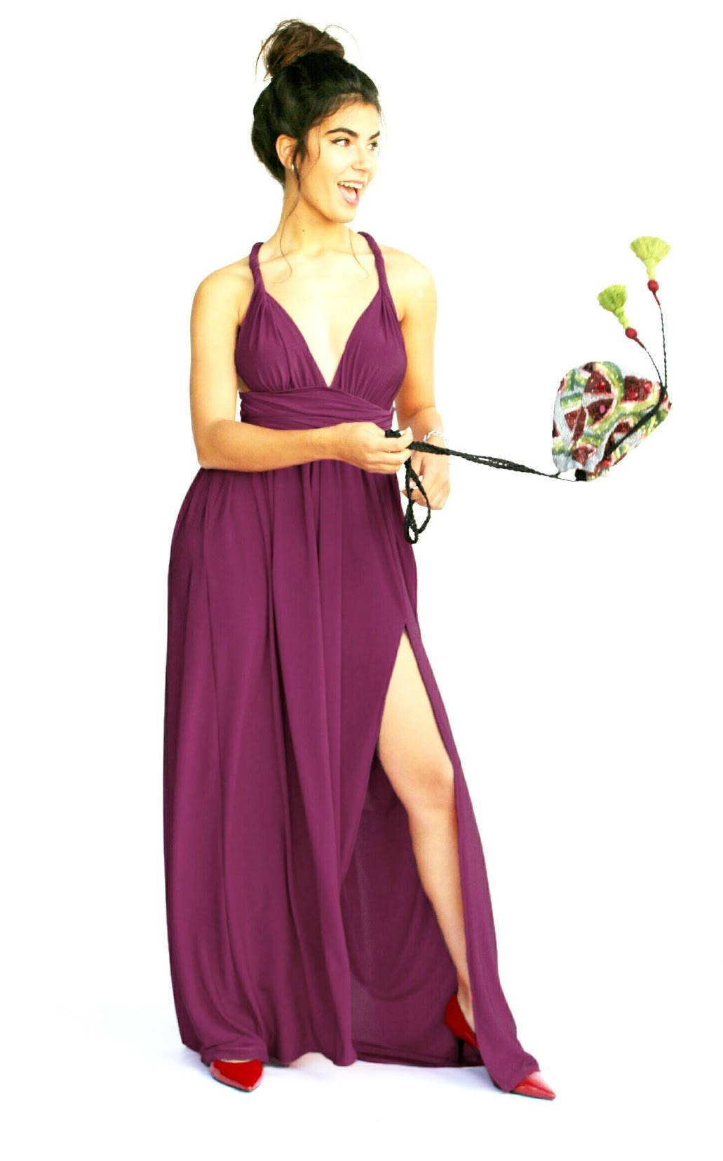 Women's Infinity Burgundy Prom Dress, Bridesmaid Evening Dress, Maxi Long Dress for Wedding, Elegant Lycra Gown