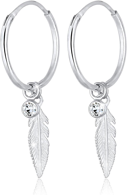 Elli Pendientes para mujer con elegantes cristales de Swarovski en plata de ley 925