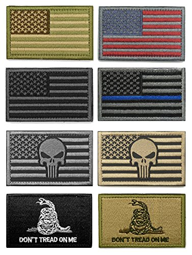 - WZT Bundle 8 Pieces American Flag Tactical Military Morale Patch Set
