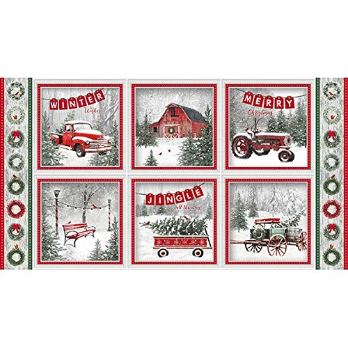Holiday Wishes by Jan Shade Beach Collection - Multi Block Print, Fabric by the panel (24