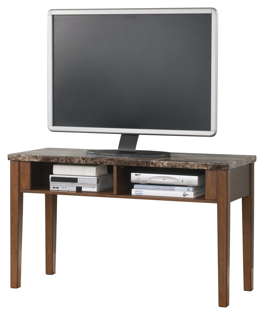 Ashley Furniture Signature Design - Theo Console Sofa Table - 2 Open Shelves - Faux Marble Top - Warm Brown