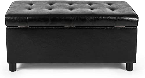 Deco De Ville Storage Ottoman Button Tufted 36 inches Leather Footrest Black/34x21x16