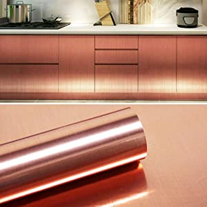 """78.7""""x17.7""""Rose Gold Contact Paper Metallic Look Glossy Self Adhesive Contact Paper Removable WallpaperCraft Vinyl Roll for Kitchen Furniture Banner Signage Decals Laptop"""