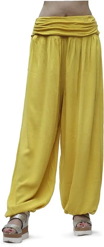 GLOMY Pantalones Anchos de Mujer de Estilo harén para