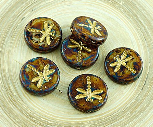 4pcs Picasso Opaque Ivory Brown Travertine Matte Gold Wash Rustic Dragonfly Flat Coin Round Czech Glass Beads 17mm ()