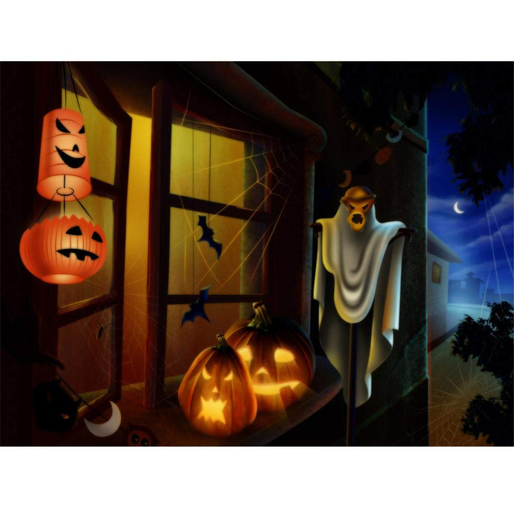 Halloween Decaration, 5D DIY Diamond Embroidery Paintings Rhinestone Full Pasted Unfinished Cross Stitch Pumpkin (Multicolor A) diamond +canvas