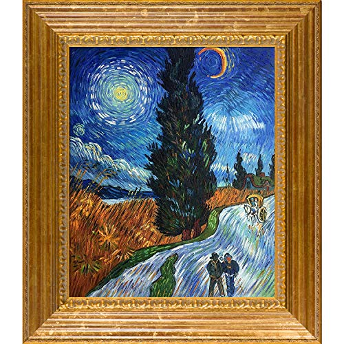 Vienna Gold Leaf - overstockArt Road with Cypress and Star with Vienna Gold Leaf Framed Oil Painting, 31