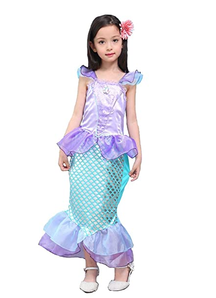 Cola de sirena fantasia volantes manga vestidos para niña Princesa fiesta vestidos Ariel Bling Cosplay traje