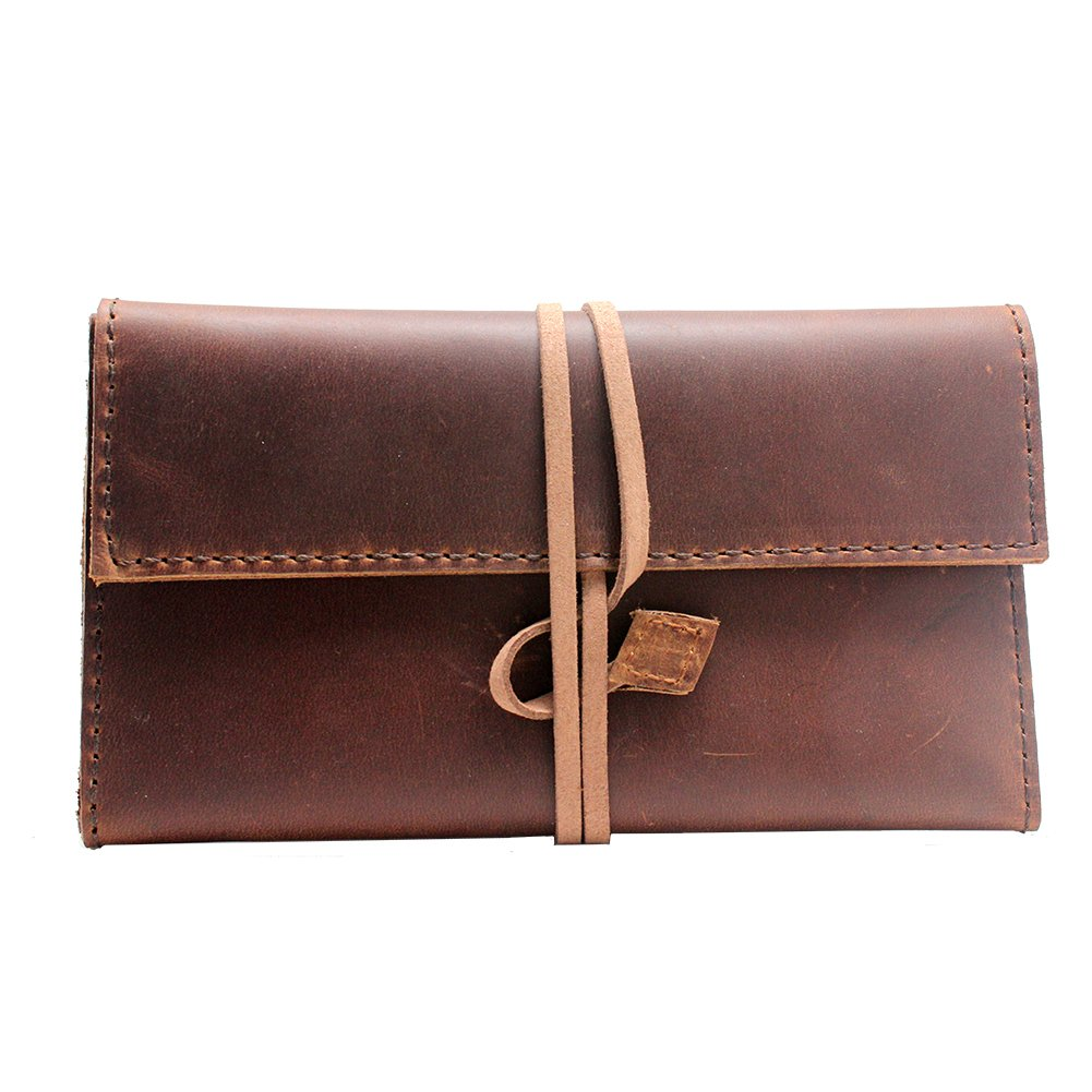 Boshiho Genuine Leather Roll Up Tobacco Pouch with Rolling Tip Paper Holder Slot (Brown (M))