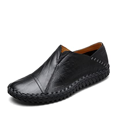 Men's Fashion Woven Shoes Leather Penny Moccasins Loafers Shoes