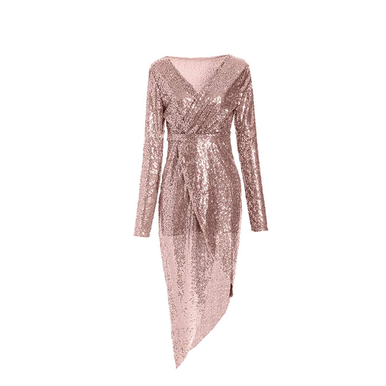 DaiWeiDress Femmes Robe /à col V et Paillettes Brillantes Manches Longues Moulante Haute Fente Robe de soir/ée