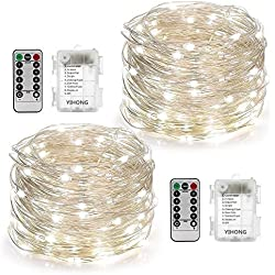 YIHONG 2 Set String Lights 8 Modes 50LED Fairy Lights Battery Operated 16.4FT Twinkle Firefly Lights Remote Timer Bedroom Patio Garden Wedding Party Festival Indoor Outdoor Decor-Soft White