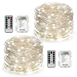 YIHONG 2 Set Fairy String Lights 8 Modes Fairy Lights Twinkling 50 LED String Lights Battery Operated 16.4FT Firefly Light with Remote for Bedroom Wedding Halloween Thanksgiving Christmas Decor(White)
