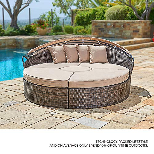 Suncrown Outdoor Patio Round Daybed With Retractable