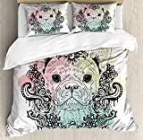 Animal Twin Duvet Cover Sets 4 Piece Bedding Set Bedspread with 2 Pillow Sham, Flat Sheet for Adult/Kids/Teens, French Bulldog with Floral Wreath on Brushstroke Watercolor Print