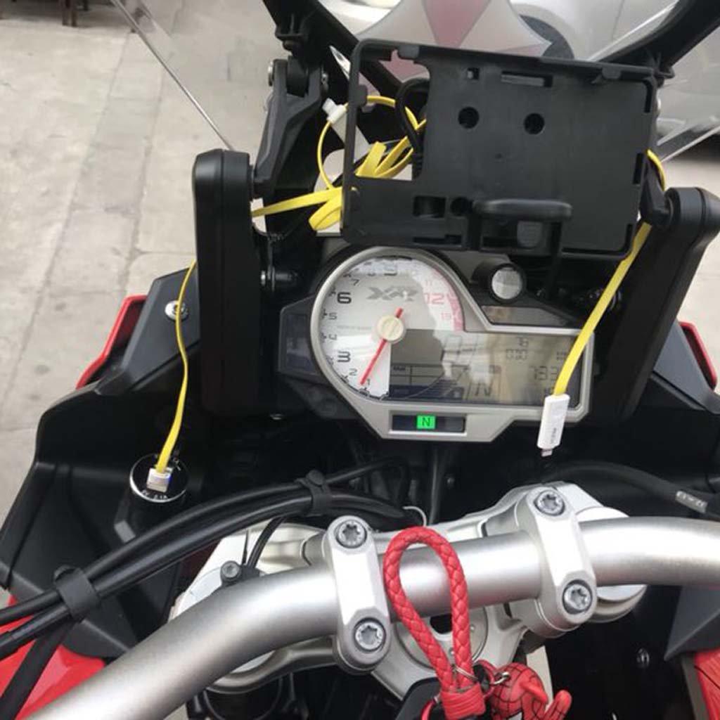 Jenor Aluminium Motorrad Dual USB Ladeger/ät DIN Buchse 4,2 A Voltmeter f/ür BMW Motorrad