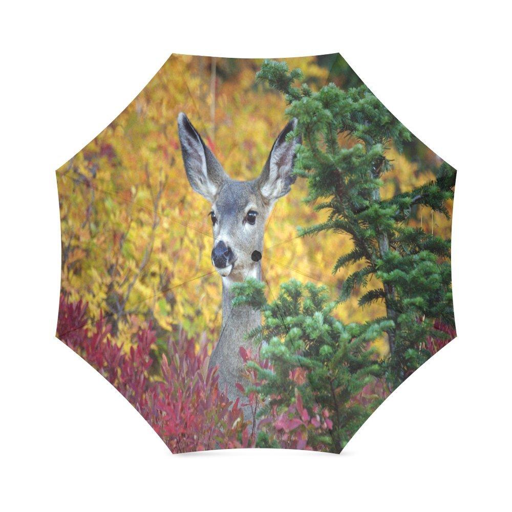 カスタムかわいい鹿コンパクト旅行防風防雨折りたたみ式傘 B0767XVRJ9