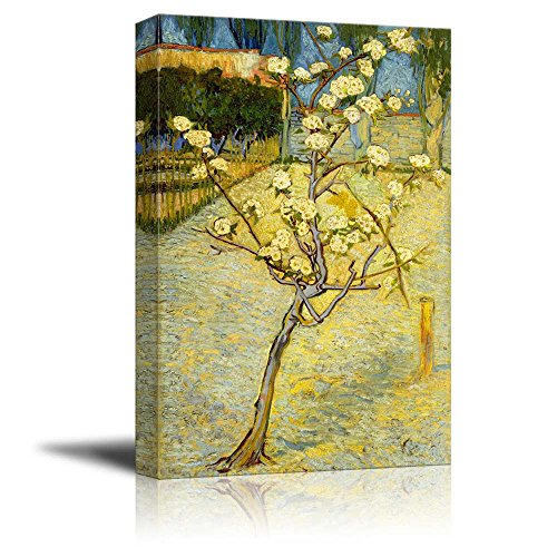 wall26 - Small Pear Tree in Blossom by Vincent Van Gogh - Canvas Print Wall Art Famous Oil Painting Reproduction - 12