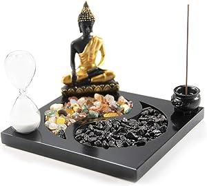 Desktop Zen Garden Kit Yin Yang with Incense, Incense Burner, Buddha Statue, Hourglass, Crystal Stone Deluxe Home Deceration