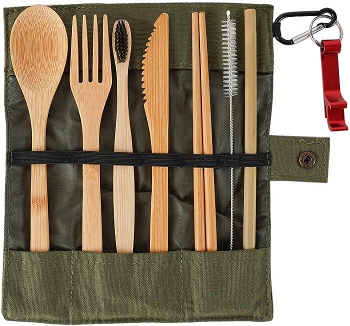 Skosod Travel Utensils Reusable Utensils with Case Eco-Friendly Bamboo Cutlery Set for Kids & Adults Portable Utensils Set Bamboo Spoon Fork Knife Brush Straw Chopsticks Toothbrush Bottle Opener Pouch