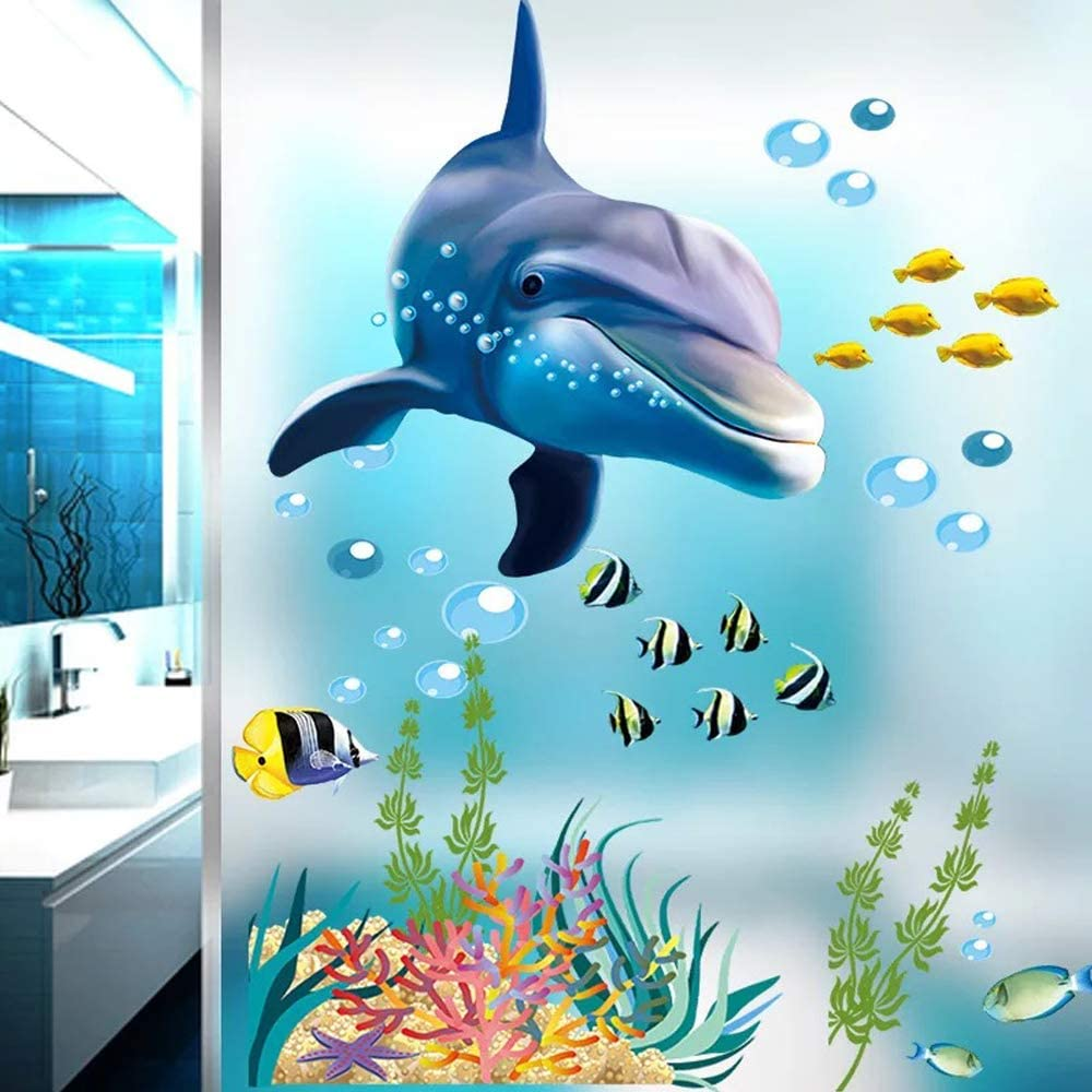 TangTanger 3D Blue Marine Animal Wall Stickers Kids Bedroom Bathroom Ceiling Living Room Nursery Sticker Decor